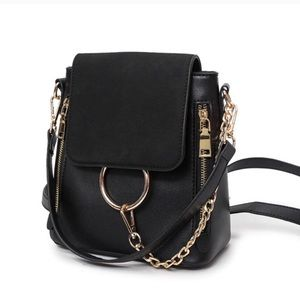 Women Solid Mini Backpack Chain Ring Pu Leather